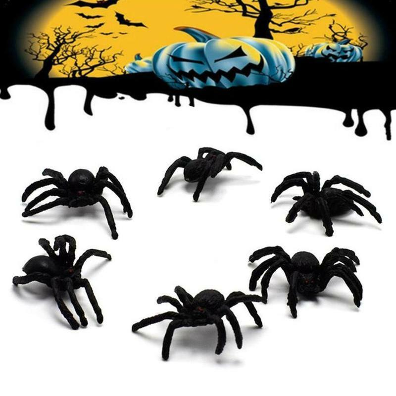 البلاستيك هالوين ألعاب صعبة مخيف العناكب السوداء نماذج مزحة يوم حشرة نماذج للحيوانات لعبة محاكاة I7I8