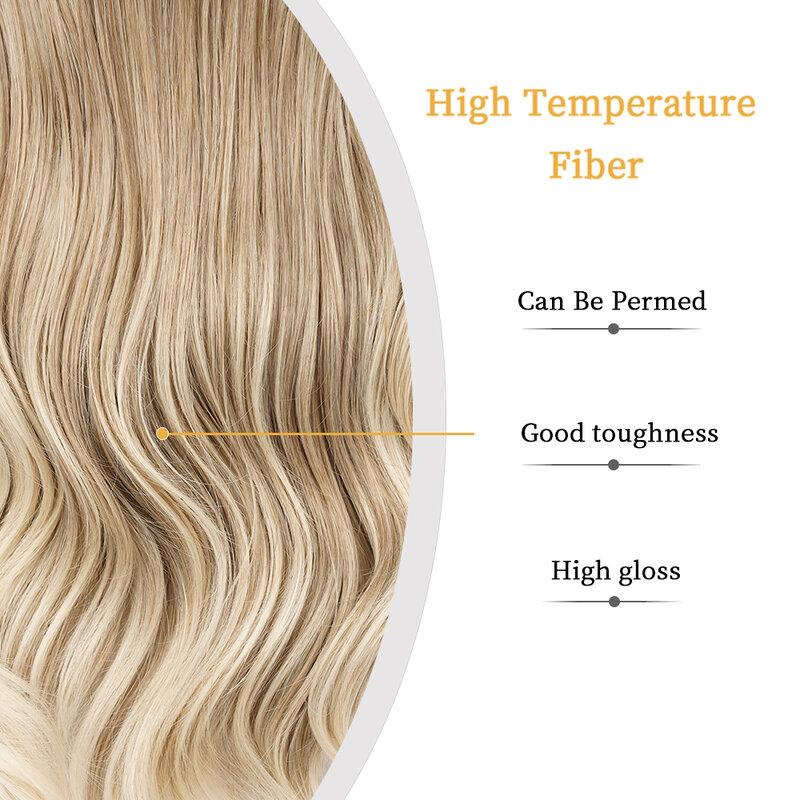 طويل متموج براون شقراء أومبير بيروكات صناعية للنساء شعر طبيعي تأثيري الباروكات اليومية مقاومة للحرارة شعر مستعار وردي الإناث