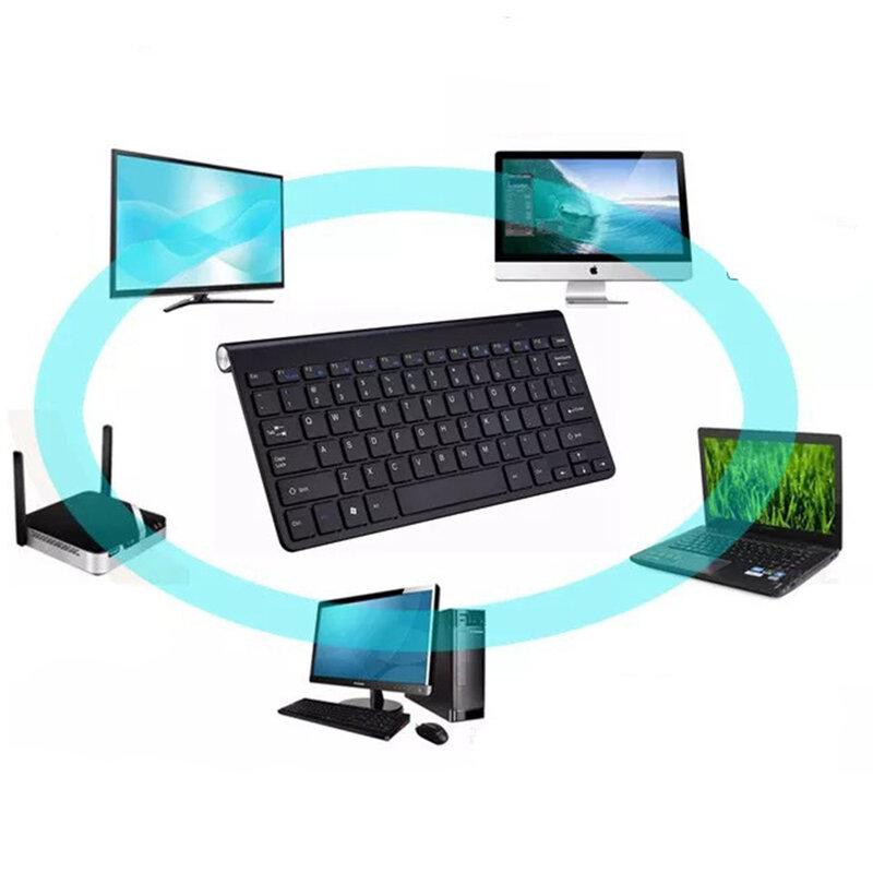 لوحة مفاتيح وماوس لاسلكي صغير محمول ، 2.4 جيجا ، مقاوم للتآكل ، لأجهزة الكمبيوتر