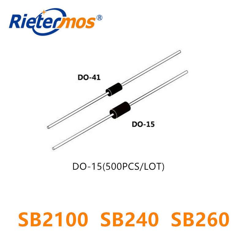 500 قطع DO-15 SB2100 SB240 SB260 SR240 SR260
