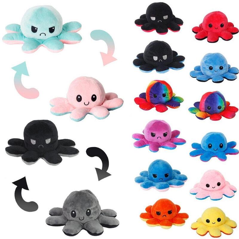 Octopns غرفة الديكور Octopns أفخم الحيوان الأطفال مزدوجة الوجه دمية لينة لطيف أفخم Peluches eeverable ألعاب من نسيج مخملي