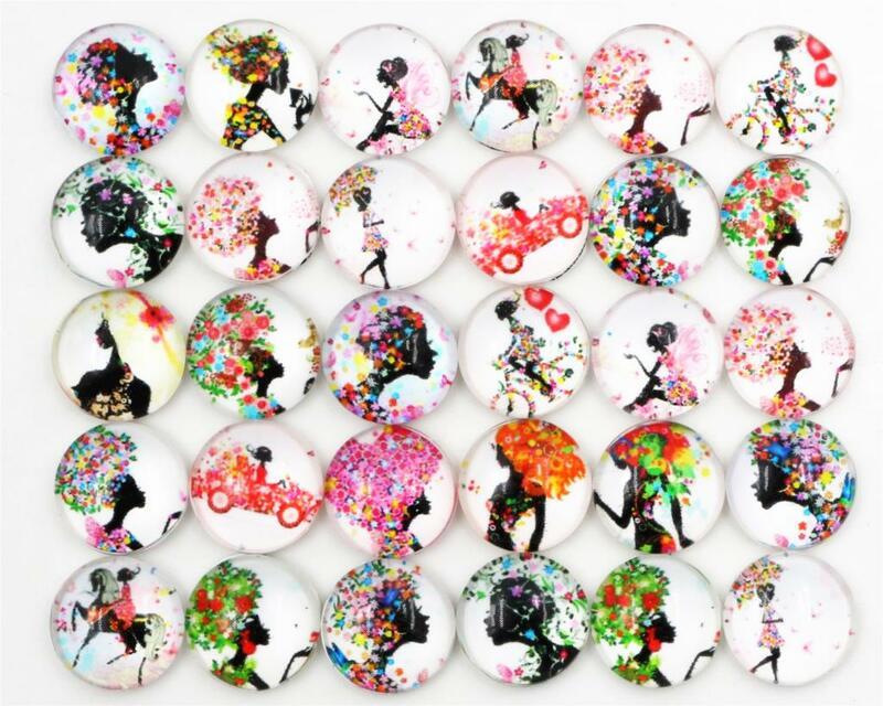 50 قطعة/الوحدة 12 مللي متر صور زجاج كبوشن مختلط اللون الأسود فتاة كبوشن ل سوار أقراط قلادة قواعد Settings-E1-12
