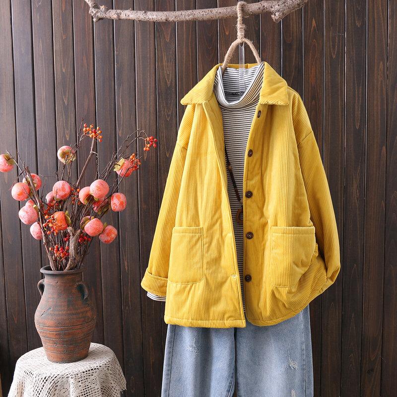 معطف سروال قصير نسائي للخريف والشتاء مقاس كبير معطف كوري طويل الاكمام بزر واحد معطف طويل سميك ودافئ