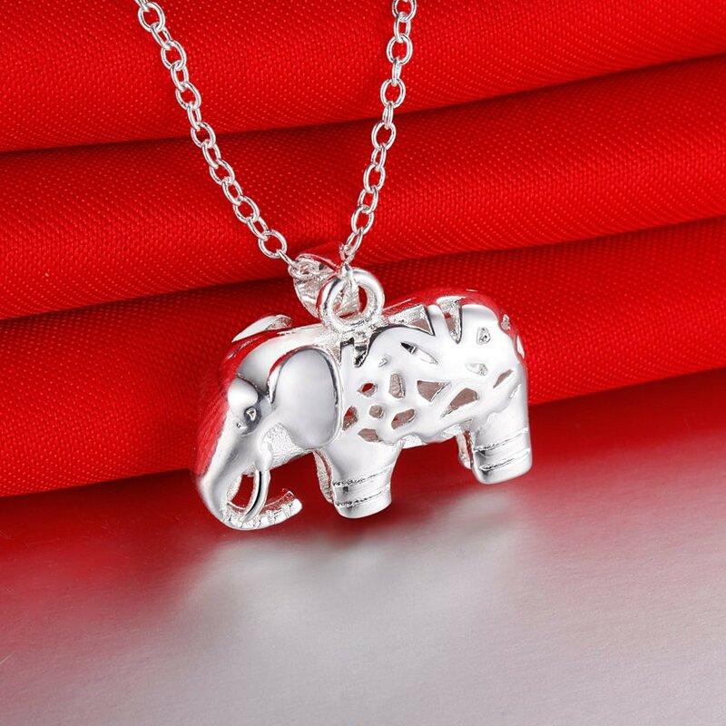 غرامة charms 925 فضة جميلة قلادة على شكل فيل للنساء موضة اكسسوارات الزفاف هدايا حفلات مجوهرات