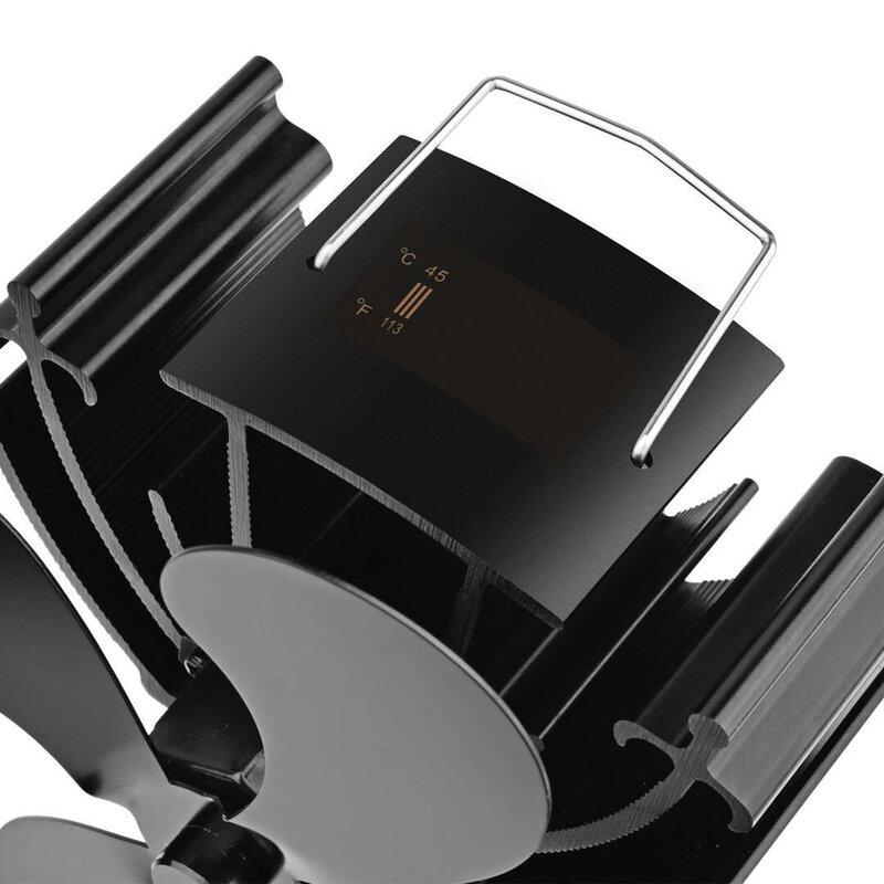 مروحة موقد تعمل بالطاقة الحرارية الصغيرة مع درجة الحرارة شاشة ديجيتال 4 شفرات مروحة الموقد الأسود توفير الوقود كتم مروحة موقد الحرارية