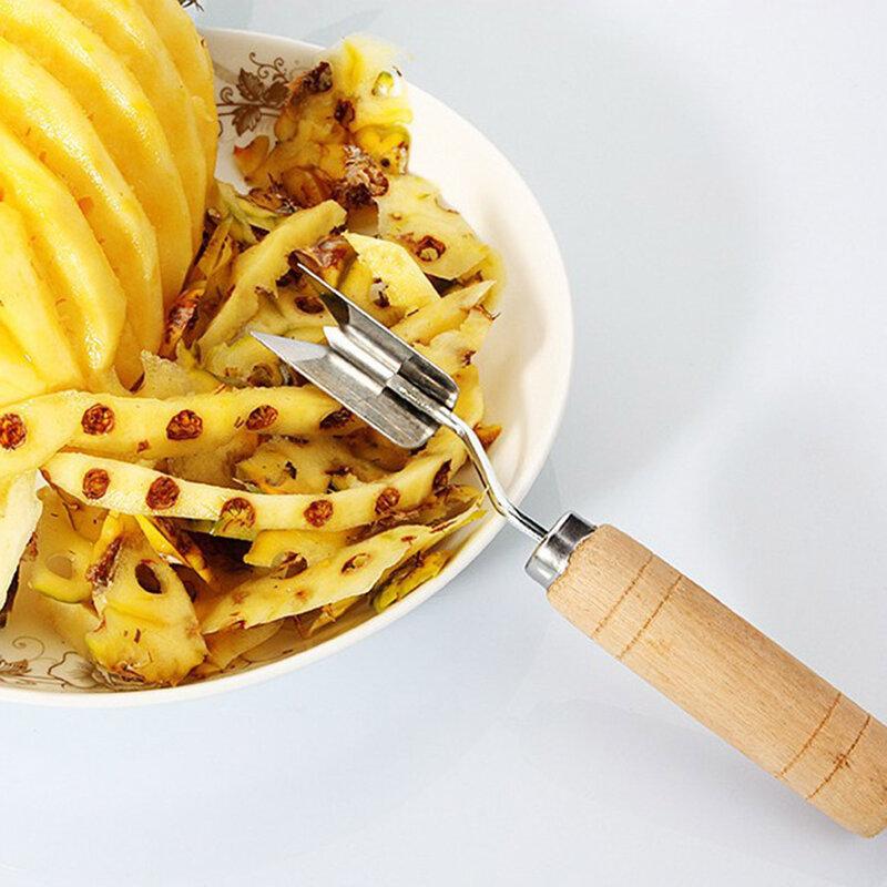 2 قطع المحمولة الخامس شكل الأناناس القاطع الخشب مقبض شارب الفاكهة مقشرة المقاوم للصدأ تقطيع