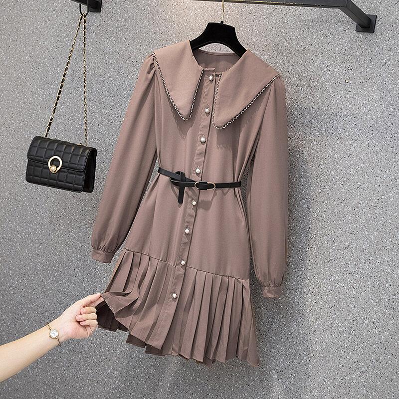 EHQAXIN حجم كبير فساتين نسائية خريف جديد الفرنسية الحلو دمية طوق مطوي واحدة الصدر فستان من الشيفون مع حزام سيدة L-4XL