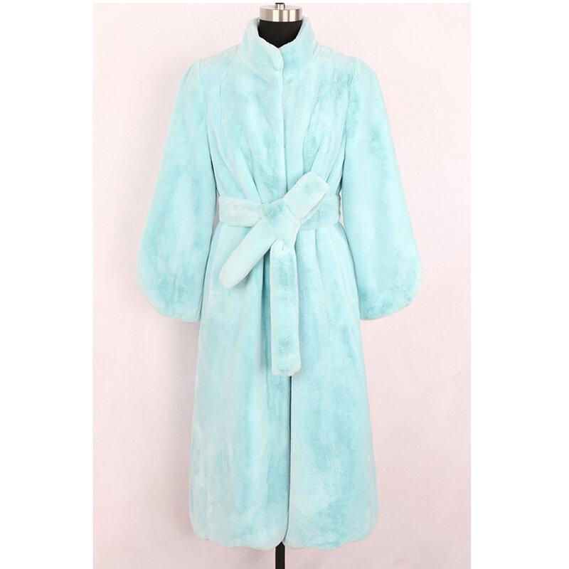 جواكت شتوية للنساء حجم كبير فو الفراء معطف فرو منك موضة المرأة الشتاء سترة 2021 أنيقة مبطن معطف للنساء ضئيلة