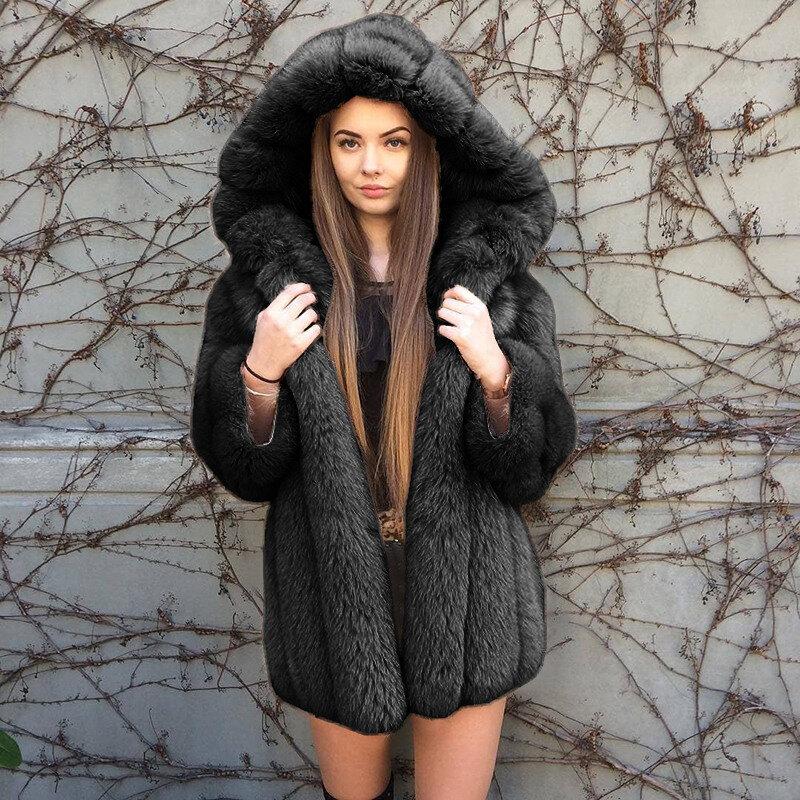 حجم كبير ملابس عصرية لشتاء 2020 لون سادة وأكمام طويلة كارديجان من الفراء معطف منفوش غير رسمي معطف طويل بقلنسوة من الفرو الصناعي