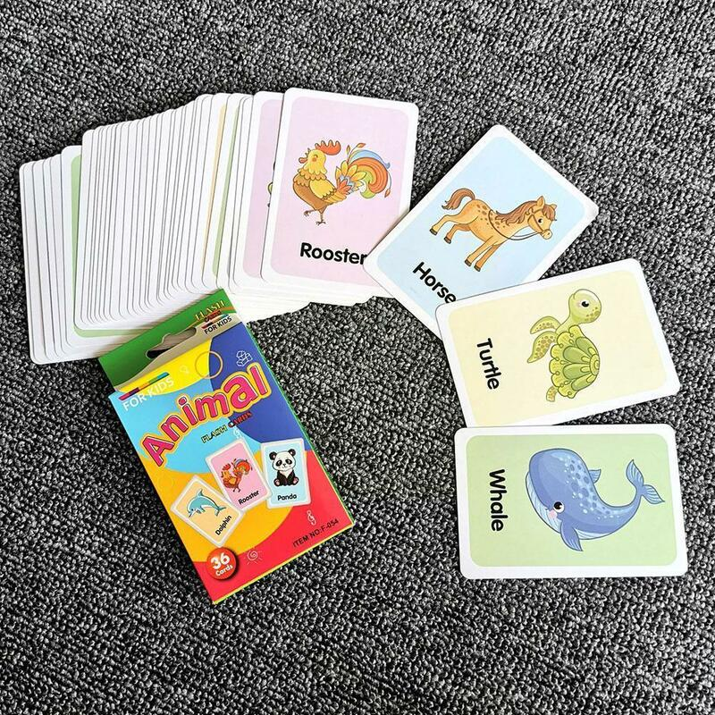 36 بطاقة في صندوق بطاقة فلاش وسائل تعليمية فاكهة الحيوان لعب للتعلم لعبة فلاش بطاقات الكلمة الإنجليزية التعليمية مباراة Pictu T6e2