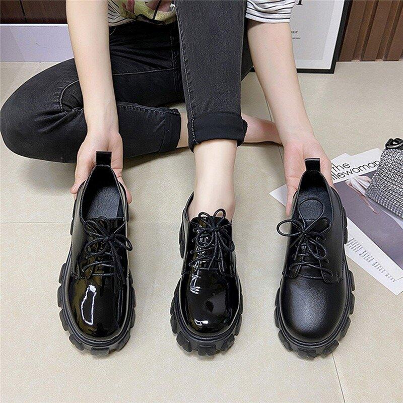 أسود الدانتيل يصل أحذية من الجلد النساء منصة أكسفورد أحذية عادية جولة تو أحذية الربيع الخريف زيادة أحذية مضادة للماء زائد Siz