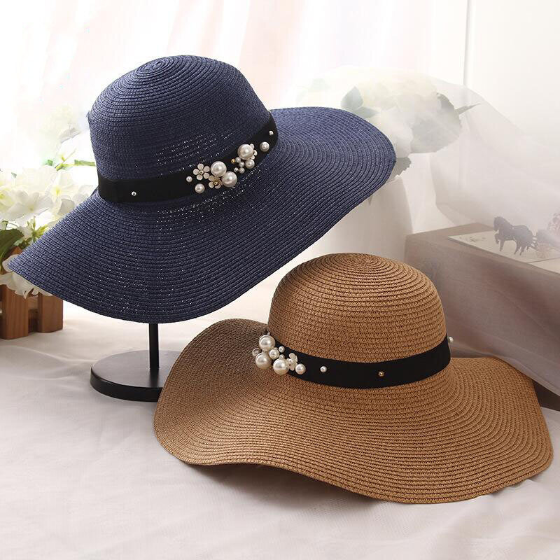 2019 رائجة البيع دائرية الرافية واسعة حافة قبعات من القش الصيف قبعات للحماية من الشمس للنساء مع قبعات الشاطئ الترفيه سيدة شقة Gorras