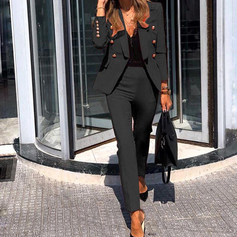المرأة سترة معطف البدلة موضة السيدات عادية بلون قطعتين 2021 الخريف الشتاء مكتب ارتداء أنيقة دعوى سترة السراويل