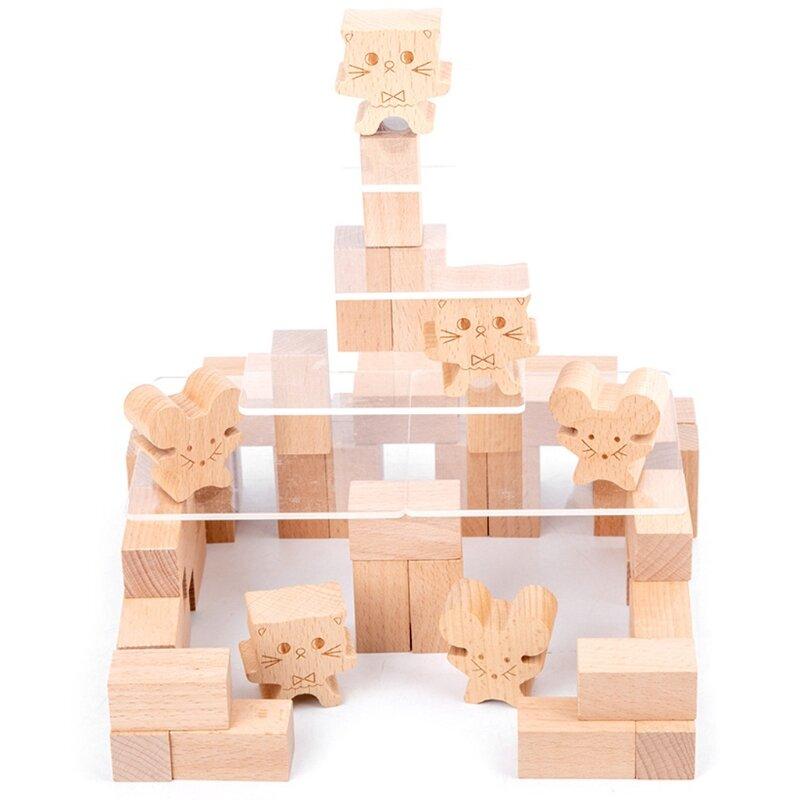 خشبية القط والفأرة لعبة لعبة الحسية التراص كتلة برج التوازن للأطفال الكبار الأسرة الفتيات الفتيان