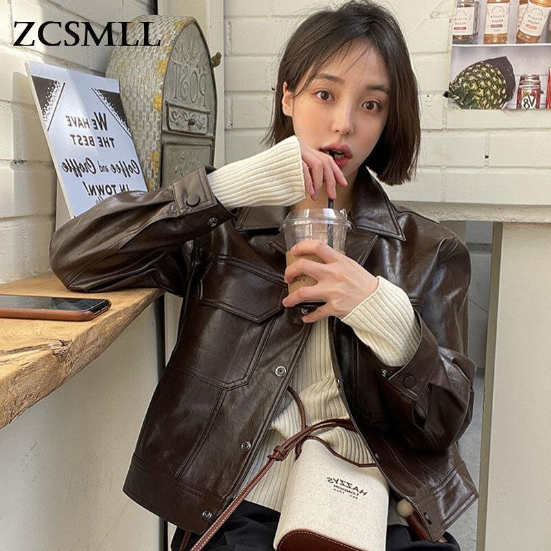 ZCSMLL الكورية الخريف المتخصصة تصميم الشعور التلبيب واحدة الصدر فضفاضة عادية بأكمام طويلة دراجة نارية سترة جلدية سترة