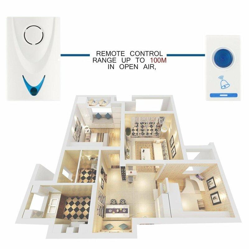 504D LED اللاسلكية الرنين جرس الباب الجرس و Wireles التحكم عن بعد 32 لحن الأغاني الأبيض أمن المنزل استخدام الذكية جرس الباب