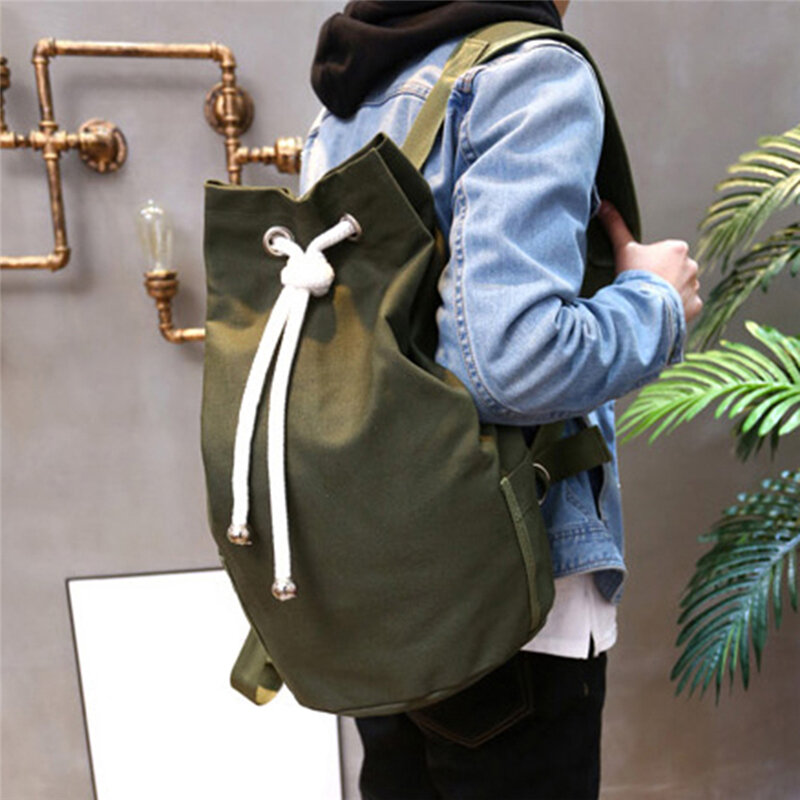 حقيبة ظهر قماشية عادية ذات سعة كبيرة للرجال ، حقيبة سفر بسيطة ، حقيبة ظهر مدرسية للمراهقين ، أخضر عسكري
