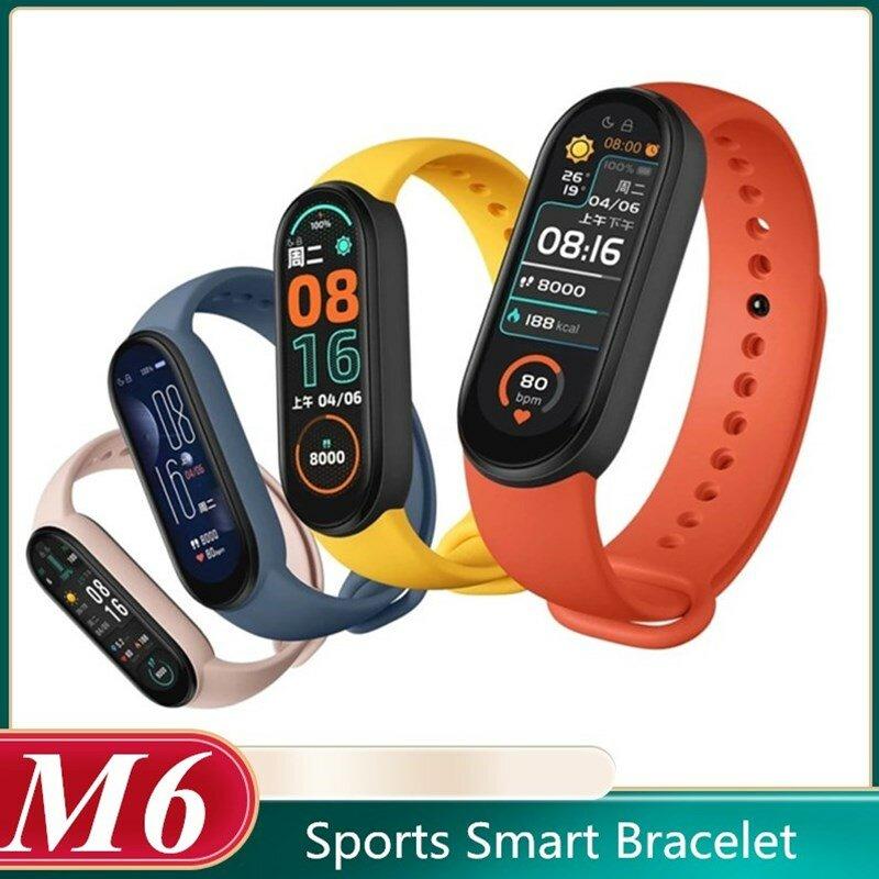 M6 سوار ذكي الرجال النساء ضغط الدم مراقب معدل ضربات القلب جهاز مراقبة اللياقة الرياضية Smartwatch مقاوم للماء ل أندرويد IOS QBMY