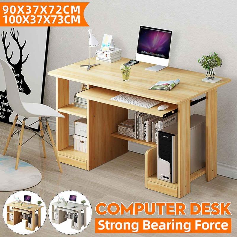 مكتب الكمبيوتر مع رف لوحة المفاتيح للطاولة رف كتب طاولة كبيرة طالب طاولة كتابة مكان العمل أثاث المكاتب المنزلية 90 سنتيمتر/100 سنتيمتر