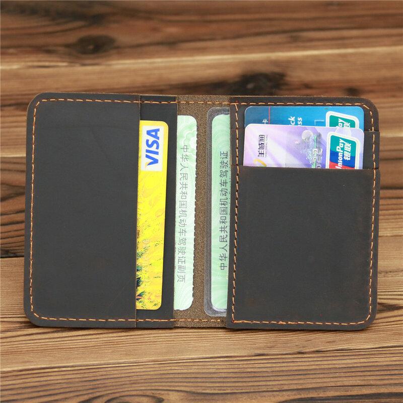 1052 جديد وصول Vintage الرجال جلد طبيعي حامل بطاقة الائتمان محفظة صغيرة حقيبة المال حافظة بطاقات التعريف الشخصية محفظة صغيرة للذكور