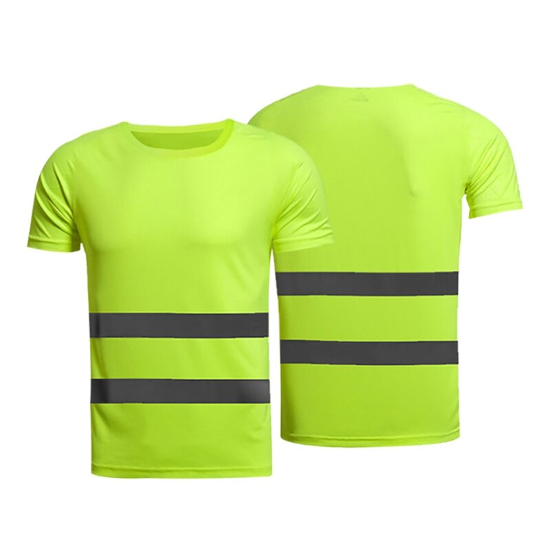 الرجال T قميص مخطط المرقعة عاكس العمل T قميص قصير الأكمام س الرقبة قمصان الذكور عادية ملابس رجالي تلائم الرجل النحيف الملابس