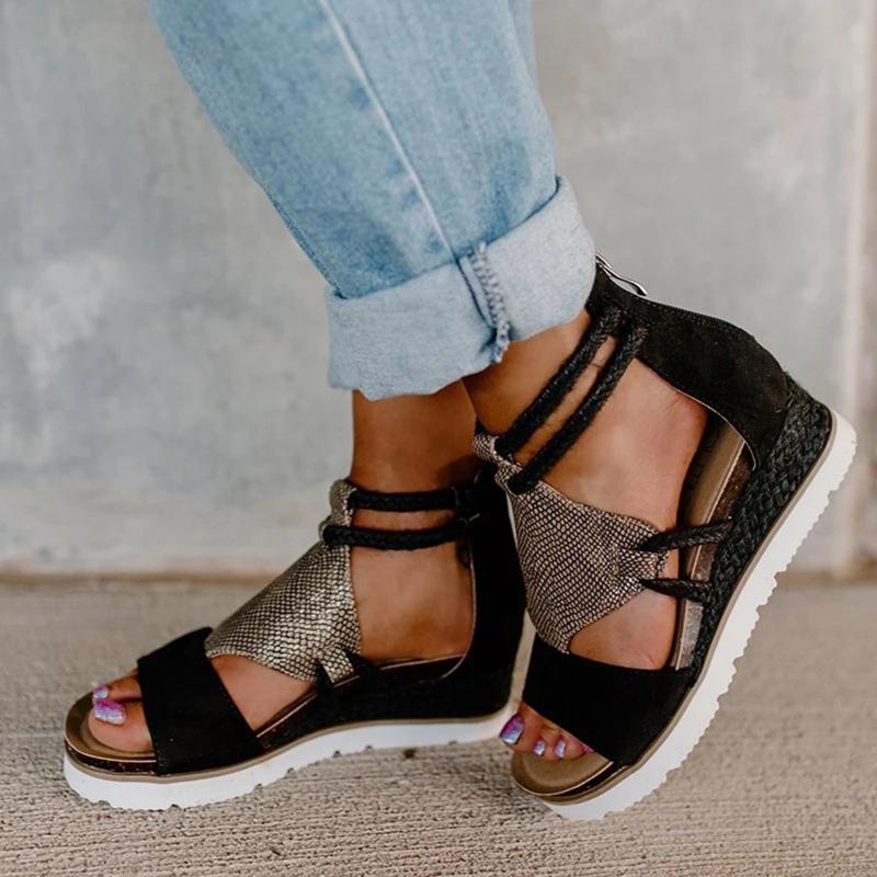 المرأة المفتوحة تو الصنادل أحذية خفيفة أنيقة السيدات إسفين فم السمكة الرومانية نمط أحذية نسائية كبيرة الحجم النساء الصنادل