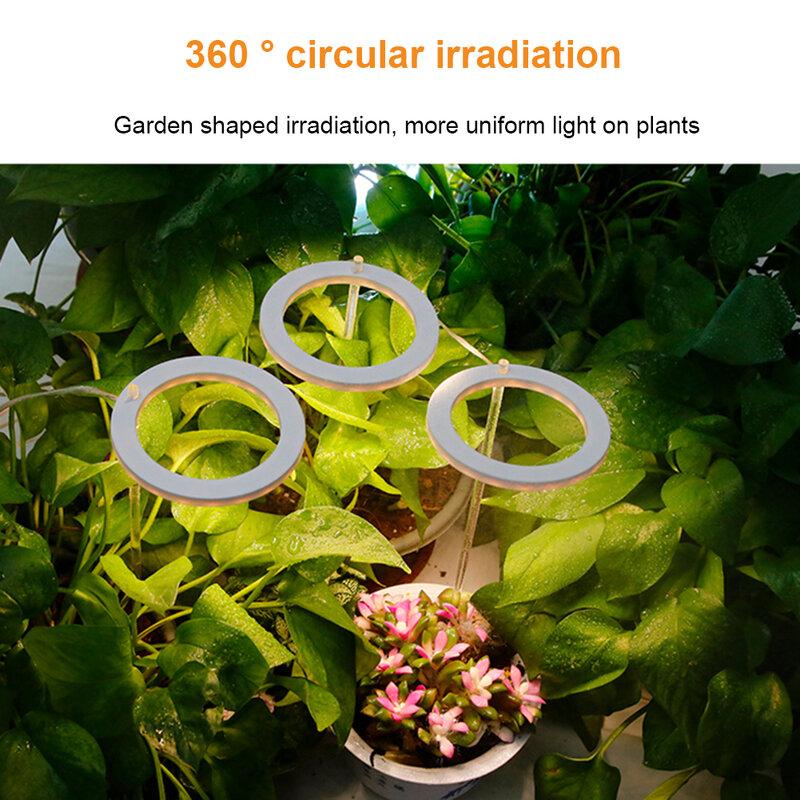 USB مقاوم للماء الملاك حلقة الحضانة مصباح أشعة الشمس الدافئة الأبيض نمو النبات ضوء عكس الضوء الزهور الشتلات النمو الإضاءة