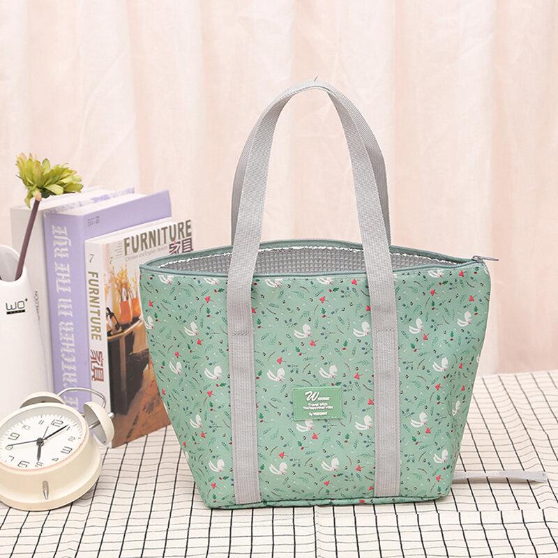 وظيفية الأزهار الطباعة برودة علب الاغذية المحمولة معزول قماش الغداء حقيبة الحرارية الغذاء نزهة الغداء حقائب للنساء الاطفال