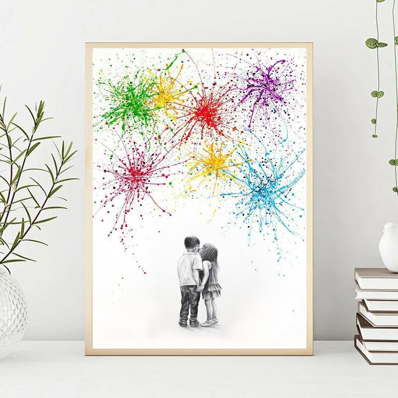 قبلة صبي فتاة تحت الألعاب النارية الكتابة على الجدران ملصق فني الإبداعية الحد الأدنى نمط قماش اللوحة غرفة الديكور لا الإطار