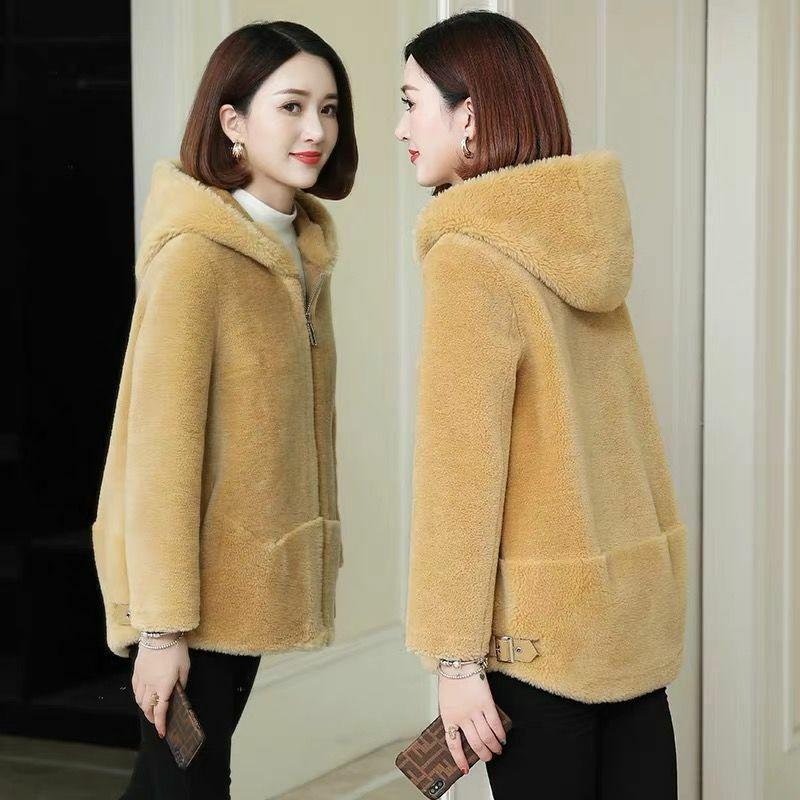 معطف شتوي نسائي من فرو الأغنام ، معطف طويل بغطاء للرأس ، موضة كورية ، غير رسمي ، لباس خارجي ، 2020