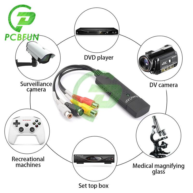 USB 2.0 Easycap التقاط 1 قناة فيديو TV DVD VHS الصوت الكمبيوتر التقاط محول بطاقة التلفزيون فيديو DVR محول