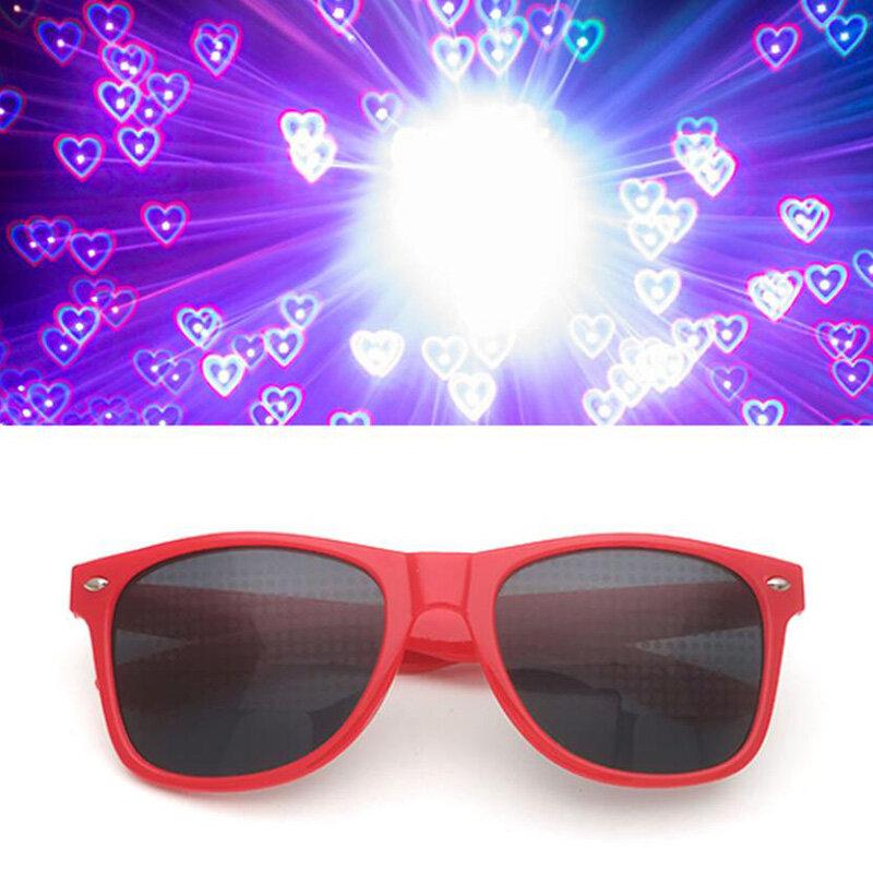الحب على شكل قلب آثار نظارات مشاهدة أضواء تغيير إلى شكل قلب في الليل نظارات انعراج نظارات الموضة النساء