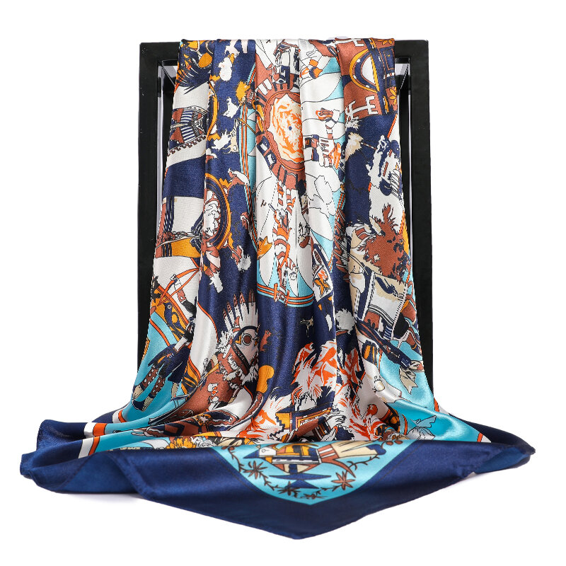 90*90 سنتيمتر ساحة الحرير والأوشحة النساء Foulard وشاح الرأس السيدات شال التفاف Muffler الحجاب باندانا الإناث الشيفون الحجاب المعطف الشاطئ