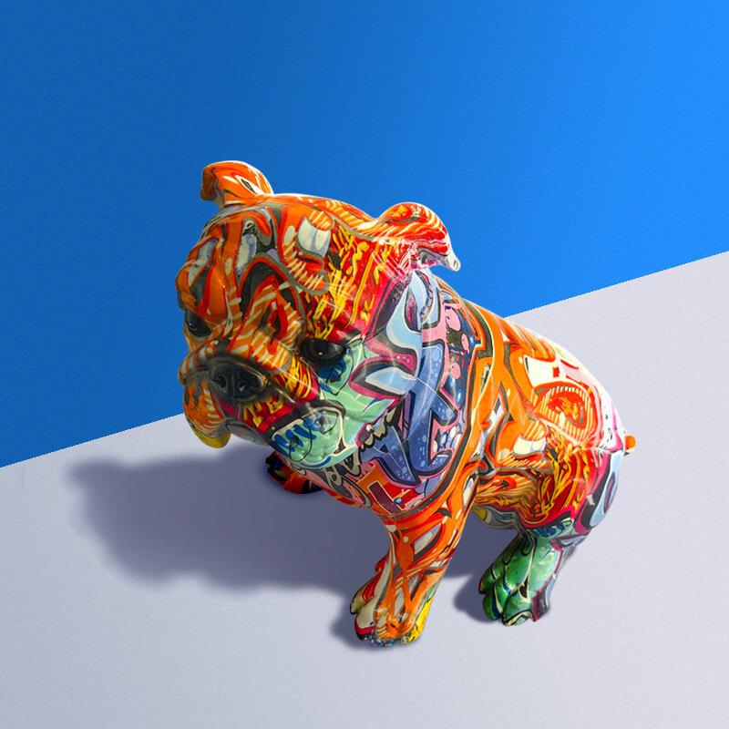 غرفة المعيشة الداخلية خربش رسمت الكلب الراتنج الحيوان غرفة الحلي التماثيل التماثيل للداخلية الفن الحديث المنزل