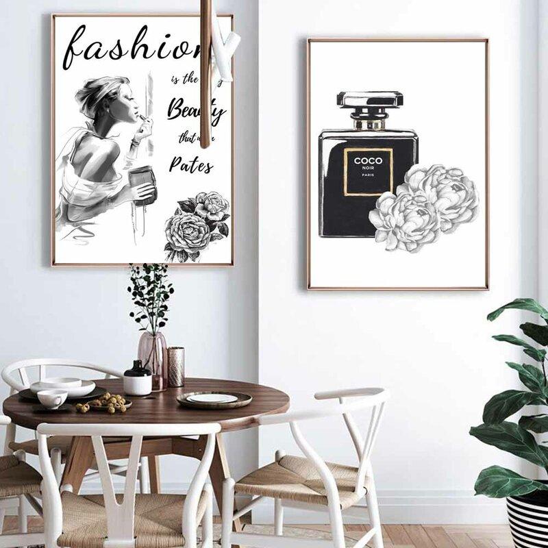 الآن فن الموضة النفط الطلاء أبيض وأسود نمط العطور أحذية عالية الكعب قماش فتاة نوم تأثيث المنزل الجداريات الزخرفية