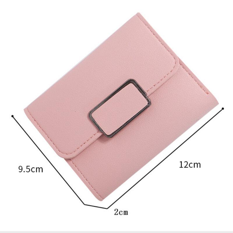 محفظة للعملة قصيرة مع أكياس المال والجلود الناعمة الصغيرة للنساء السيدات محافظ صغيرة غلق بمشبك حامل بطاقة الإناث carteras para mujer