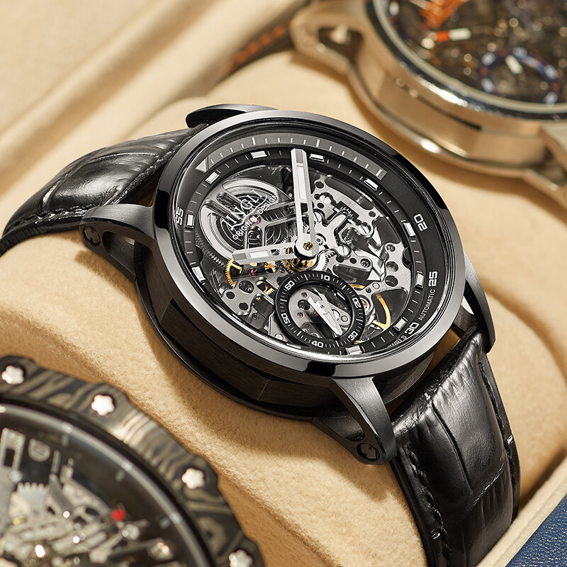 جينلي توربيون ساعة رجالية ساعة ميكانيكية أوتوماتيكية جوفاء مقاوم للماء ساعات جلد الرجال 2021 ساعة جديدة