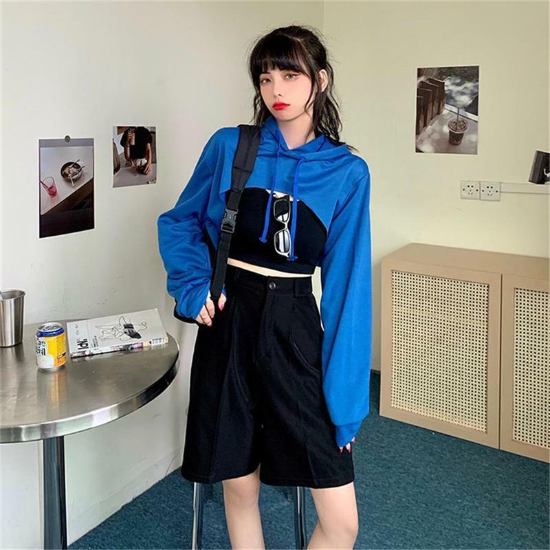 المرأة سطح لون ساخن غير النظامية السرة هوديي طويلة الأكمام سوبر قصيرة هودي Harajuku الربط بلوزات النساء مع هوديس