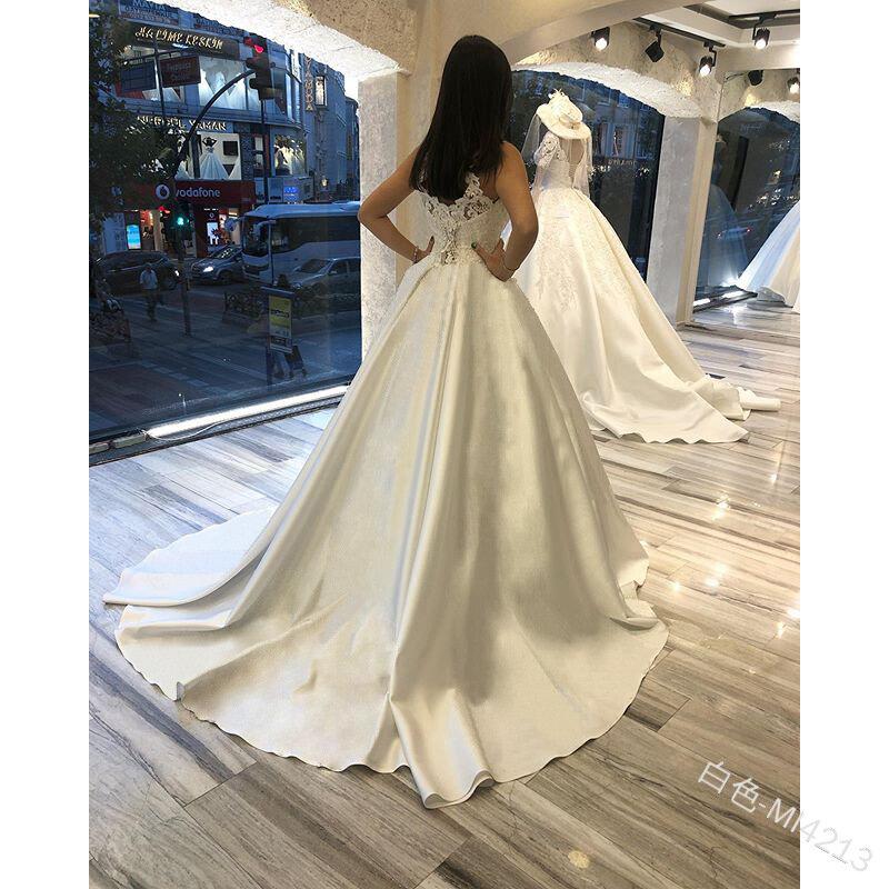 العاج ألين الساتان فستان الزفاف فستان الزفاف الرسن يزين ثوب زفاف رداء دي ماري مخصص حجم كبير