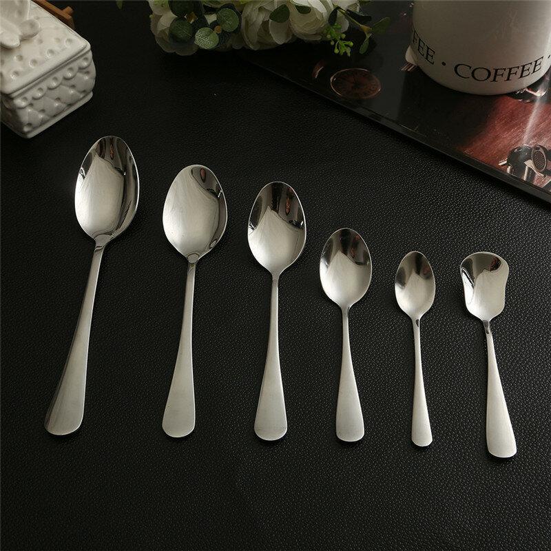 1 قطعة هايت نوعية قصيرة مقبض ملعقة السكر الحلوى القهوة الفولاذ المقاوم للصدأ ملعقة حادة أدوات المائدة المطبخ