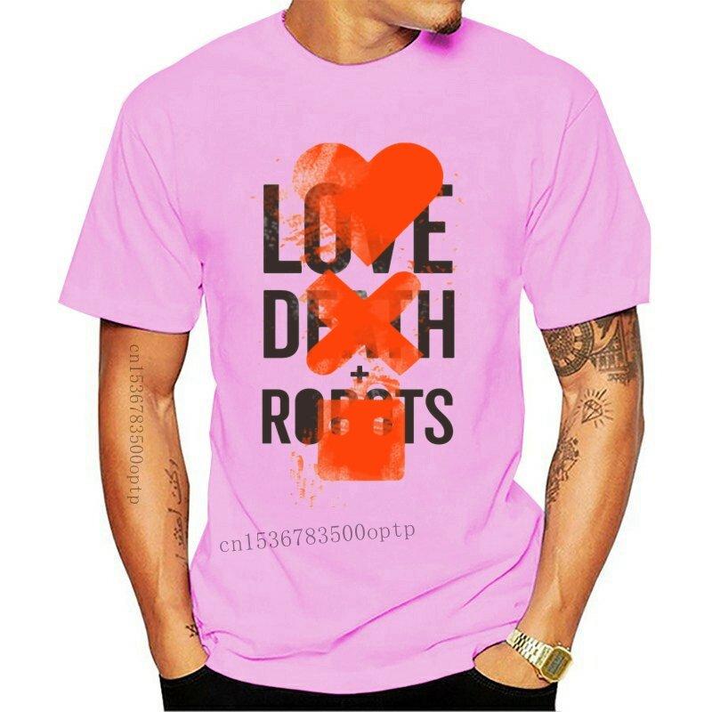 جديد الكرتون الحب الموت و الروبوتات تي شيرت الإبداعية بلون تي شيرتات ورق الرسم البياني للرجال المحملة القمم صور عادية