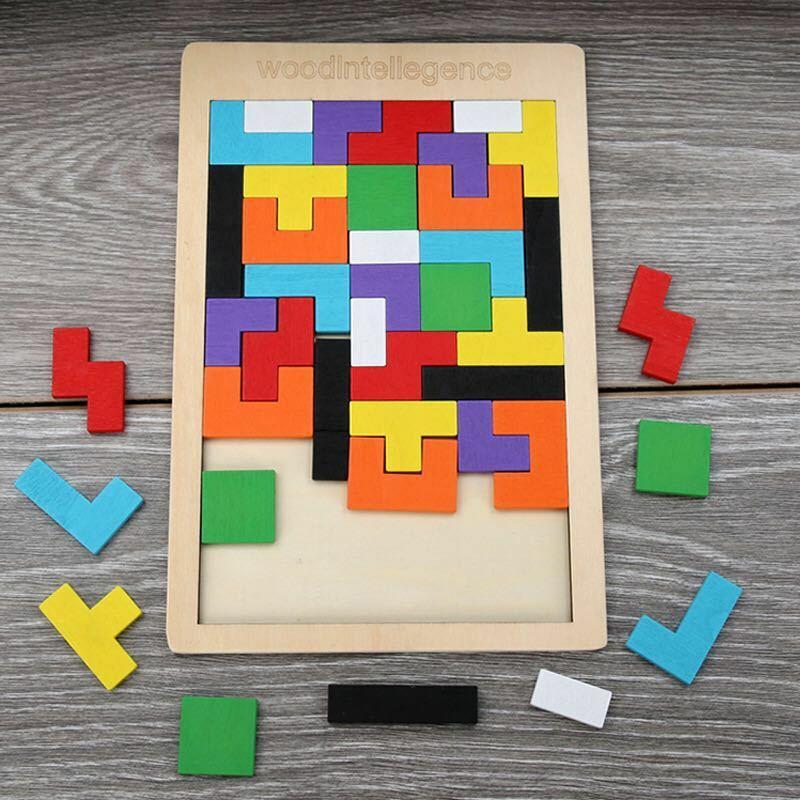 الملونة خشبية تانجرام أحجية تحفيز العقل اللعب تتريس لعبة مرحلة ما قبل المدرسة ماجيك الفكرية التعليمية لعبة طفل
