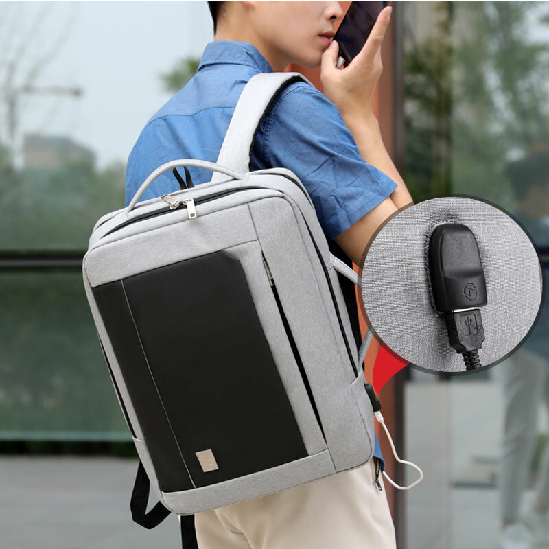 حقيبة ظهر رجالية غير رسمية ، حقيبة كمبيوتر محمول مع شاحن USB ، سعة كبيرة ، مضادة للسرقة ، مقاومة للماء ، حقيبة مدرسية للذكور