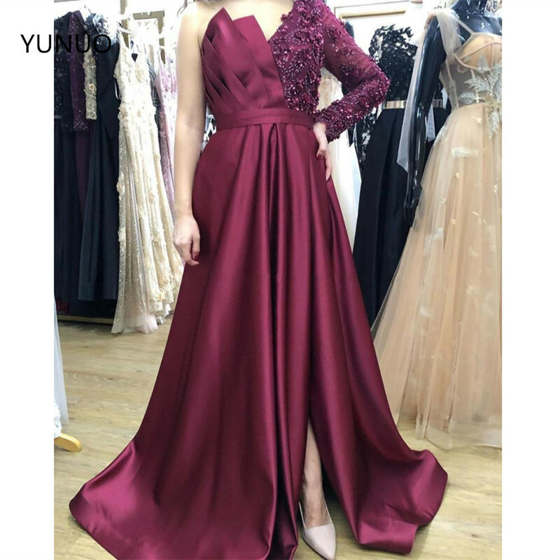 YUNUO-فستان سهرة ساتان أسود ، غير متماثل ، كتف عاري ، أكمام طويلة ، مطرز ، عربي ، حفلة موسيقية ، عنابي ، فستان حفلات رسمي