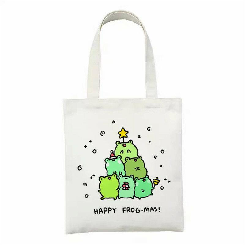مضحك الكرتون حمل الحقائب للسيدات سعة كبيرة الإناث قماش حقيبة تسوق الكرتون الكلاب طباعة المرأة ايكو السفر حقيبة اليد 2021
