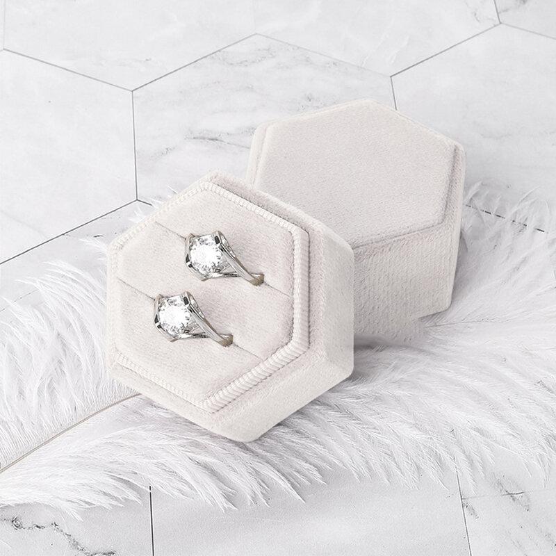 موضة مسدس صندوق خاتم قطيفة حلقة مزدوجة عرض حامل مع غطاء قابل للفصل لاقتراح المشاركة حفل زفاف خاتم