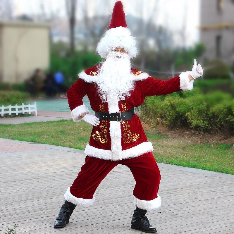 سانتا كلوز عيد الميلاد ازياء الرجال تأثيري يتوهم الكبار الدعاوى مهرجان الاحتفال الدعاوى المخملية حفلة عيد الميلاد
