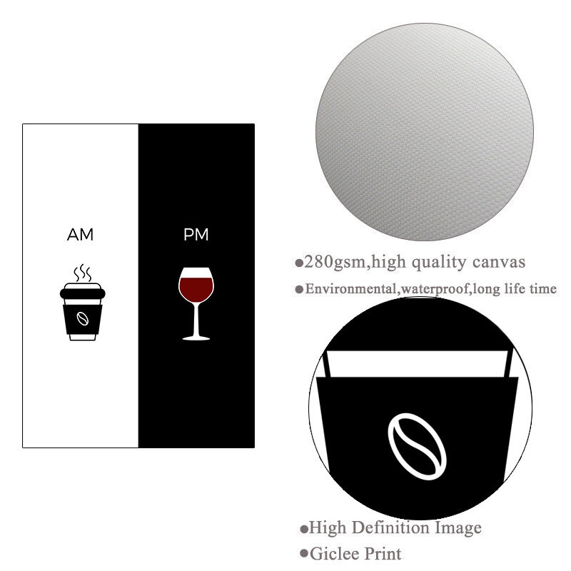 النبيذ القهوة إقتباس جدار صورة فنية لغرفة المعيشة أسود أبيض مطعم المطبخ الملصقات قماش اللوحة الحديثة يطبع HD2804
