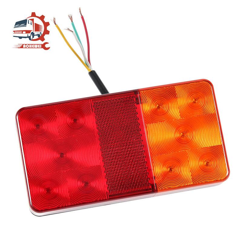 AOHEWEI 2x LED مقطورة أضواء خلفية المؤشر الخلفي الفرامل بدوره إشارة الأحمر 12 فولت مقاوم للماء ل شاحنة قارب قافلة عاكس