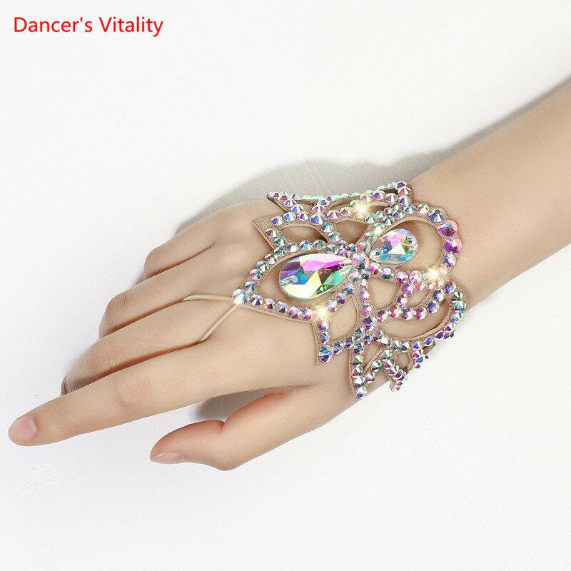 الرقص الشرقي الإناث الكبار الراقية سوار أنيق رائعة حجر الراين مطابقة الاكسسوارات القفازات